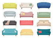 Sofas, furniture pieces flat vector illustrations set