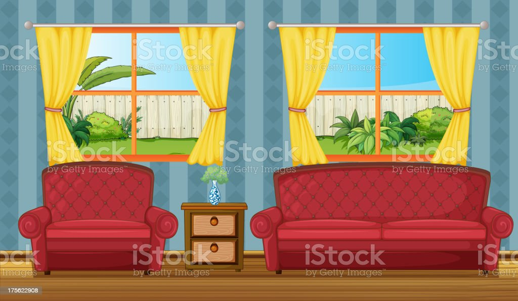 Sofaset and side table royalty-free stock vector art