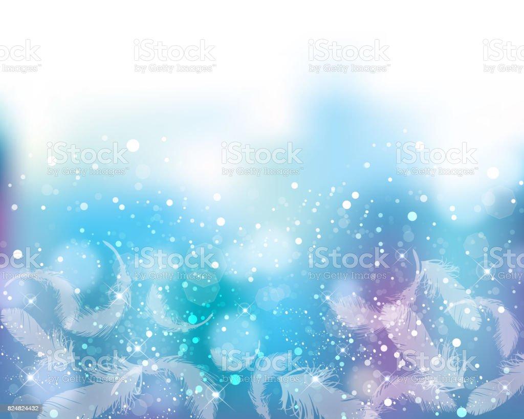 fundo de cor suave de brilhos e penas - ilustração de arte em vetor