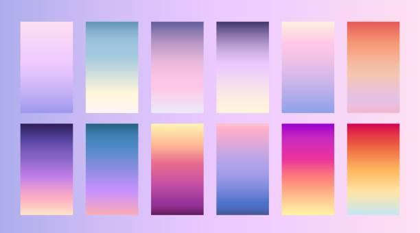 柔らかい色背景ランディング ページ、スマート フォン、モバイル アプリのトレンディな画面ベクター デザイン - 夕焼け点のイラスト素材/クリップアート素材/マンガ素材/アイコン素材
