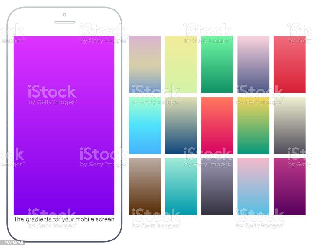 Soft Color Gradient Backgrounds Set Modern Screens For