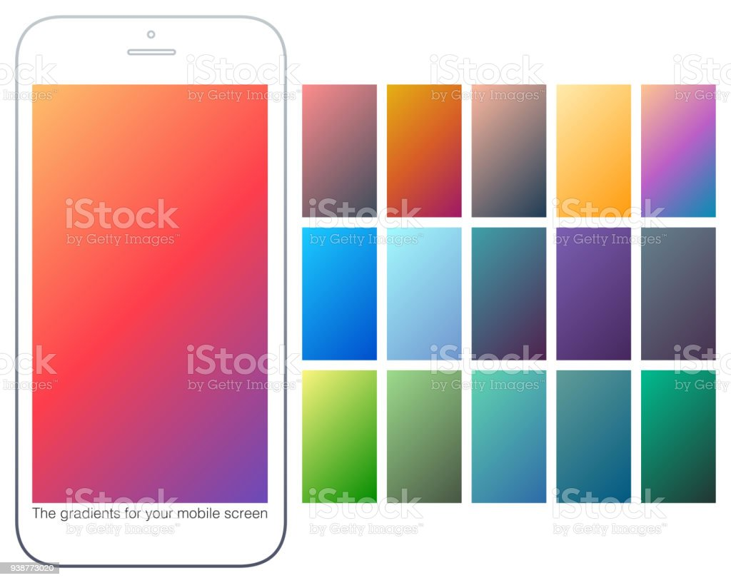 Soft Color Gradient Backgrounds Set Modern Screens For Mobile App