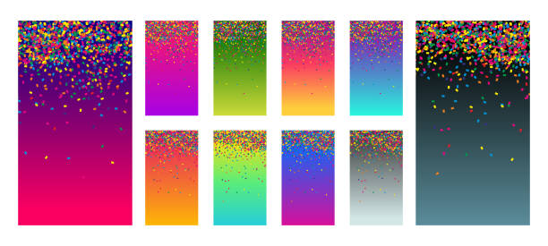 Soft color vibrant gradient modern screen vector ux ui design palette for mobile. Living smooth colorful background set in trendy colors with bright confetti. Festive vector illustration Soft color vibrant gradient modern screen vector ux ui design palette for mobile. Living smooth colorful background set in trendy colors with bright confetti. Festive event vector illustration anniversary backgrounds stock illustrations