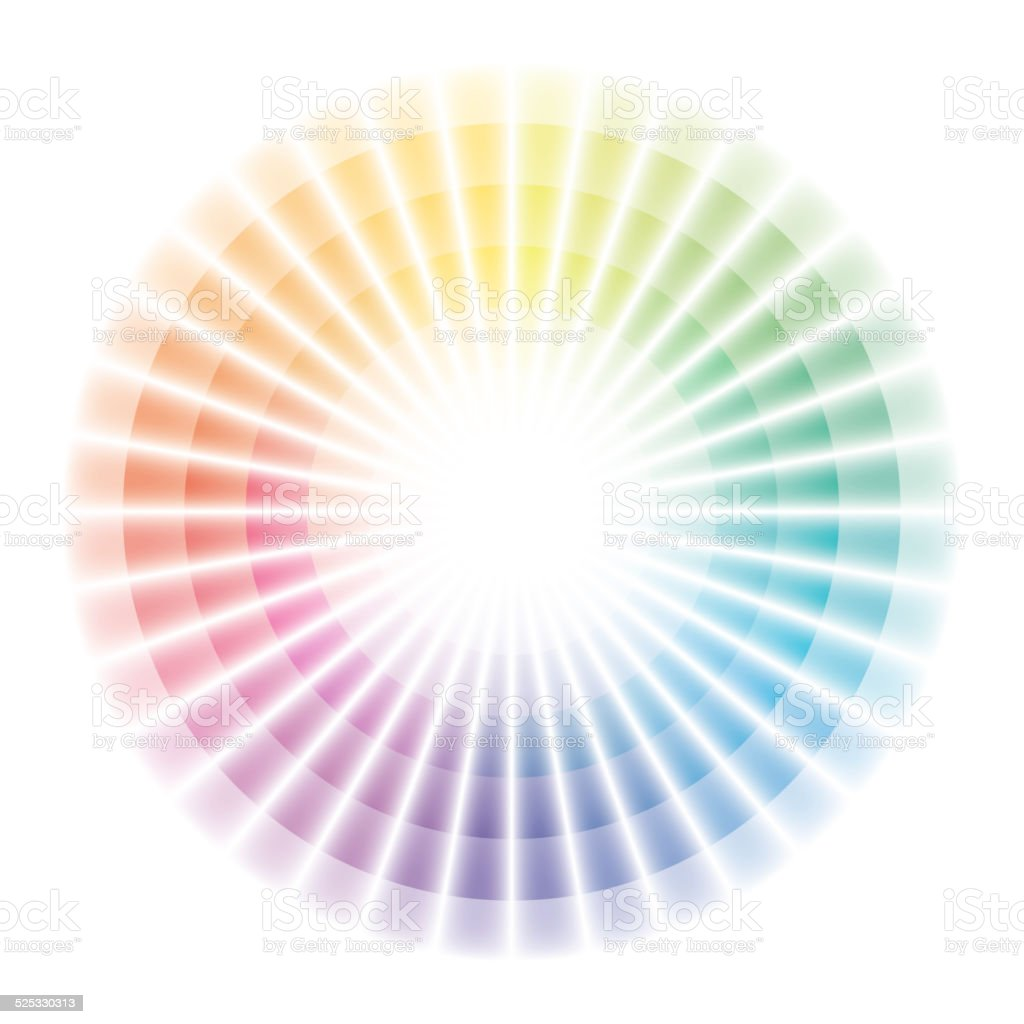 Soft color wheel with graduation to white vector art illustration