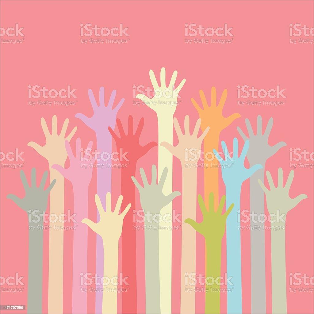 Soft colored hands up vector art illustration