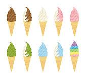 様々な味のソフトクリーム