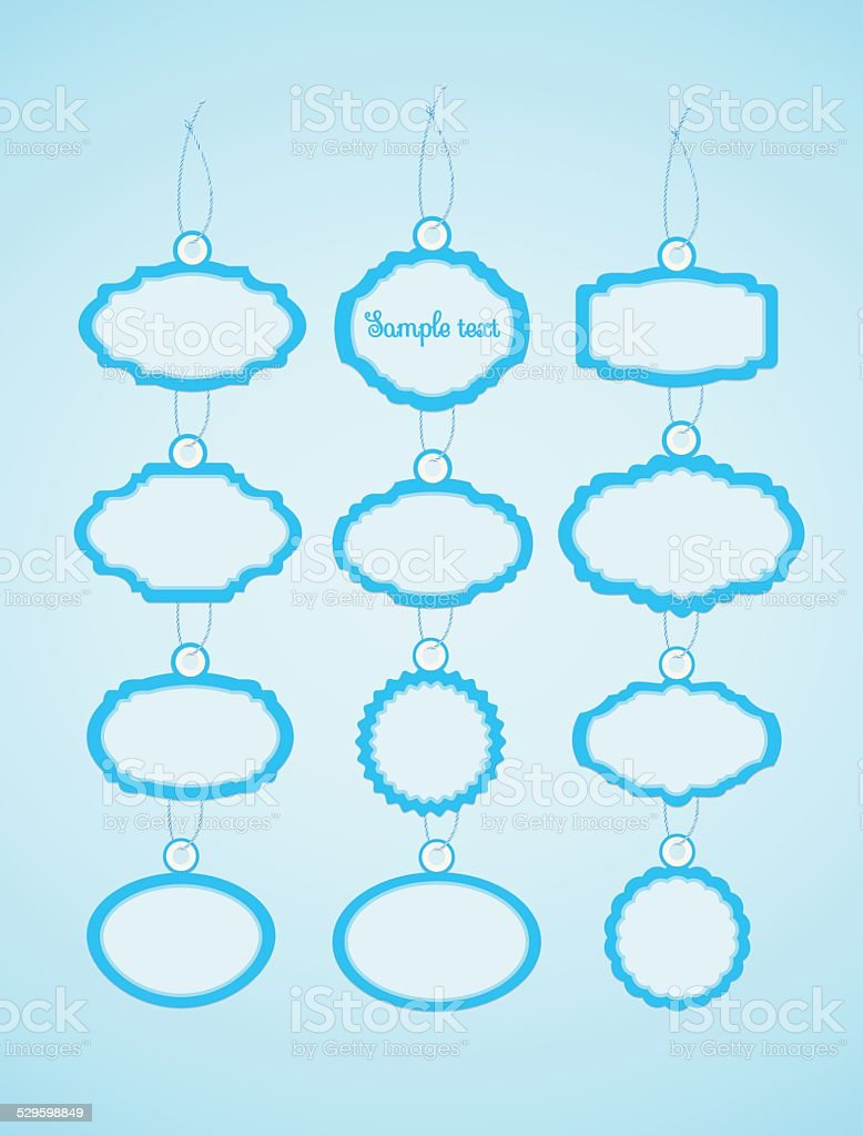 Soft decorative badges blue. vector art illustration