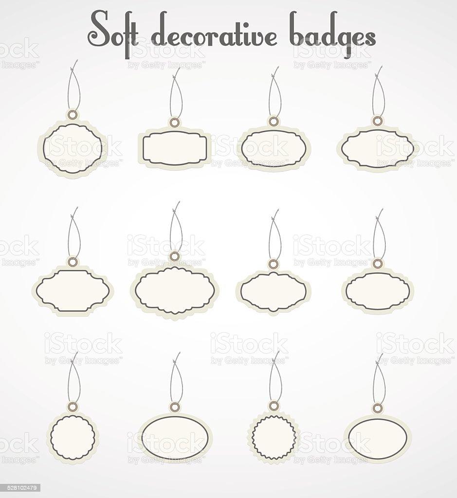 Soft decorative badges. vector art illustration