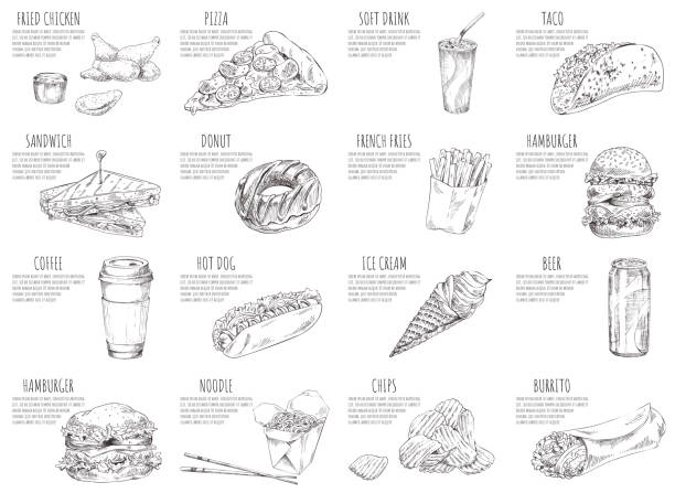 Soft Drink and Italian Pizza Vector Illustration Soft drink and italian pizza sketches on posters. Hamburgers and fried chicken served with sauce. Ice cream and noodles in box vector illustration french fries stock illustrations