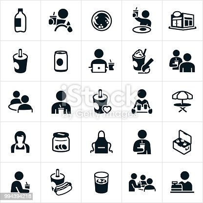 Icons associated with soft drinks and soda. The icons include a 2 liter bottle, soda can, cup of soda, people drinking soda, soda being served in a restaurant, soda in a cooler, soda with a hot dog and other soda themed icons.