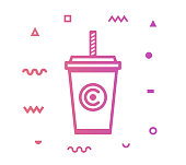 Soft drink outline style icon design with decorations and gradient color. Line vector icon illustration for modern infographics, mobile designs and web banners.