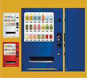 Soft drink vending machine with front view, side view and two more colours. Zip contains AI and PDF formats.