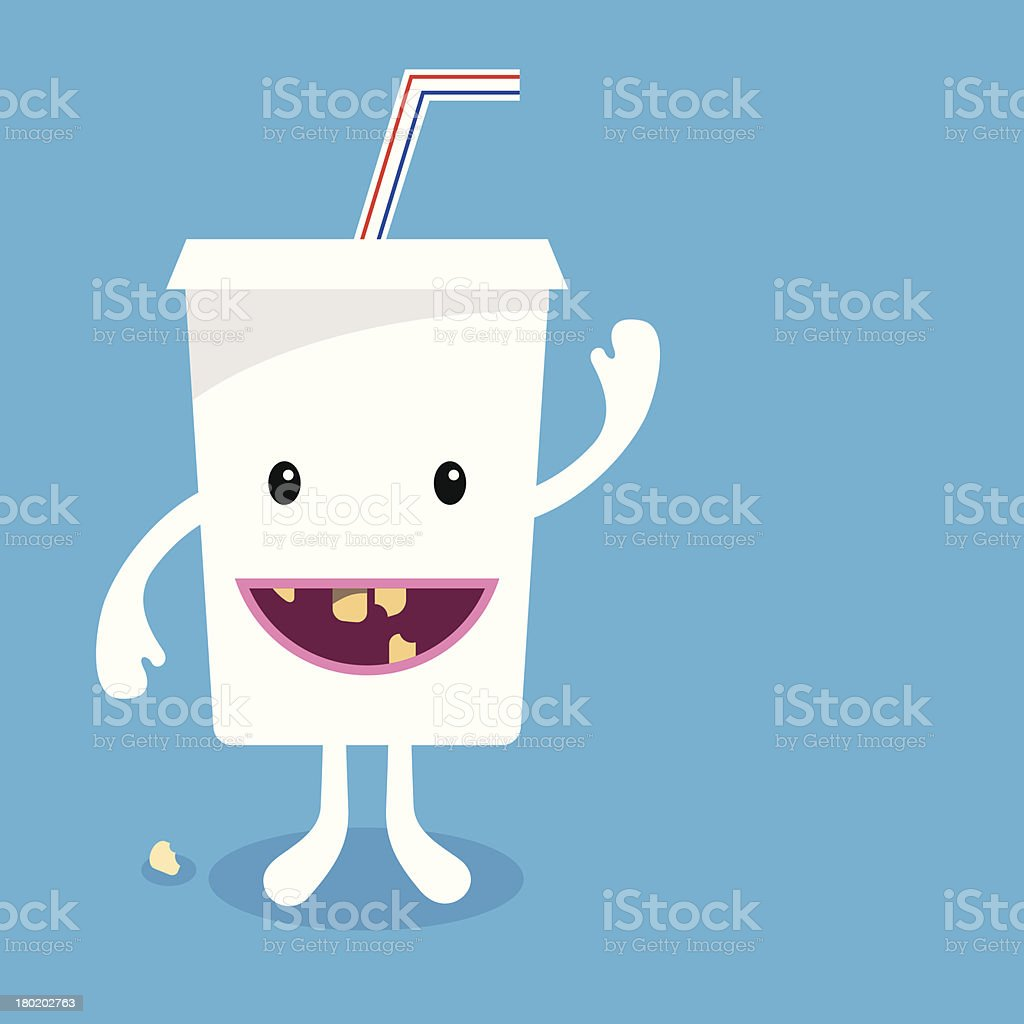 Soft Drinks and Tooth Decay vector art illustration