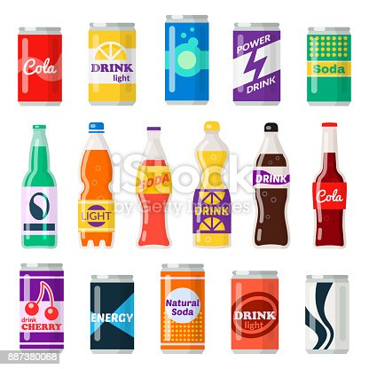 Soft drinks bottles. Bottled beverage, vitamin juice, sparkling or natural water in cans, glass and plastic bottles. Vector flat style cartoon illustration isolated on white background