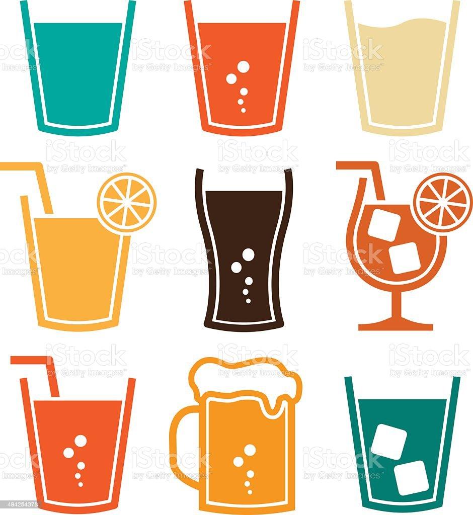 Soft Drinks Set vector art illustration