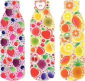 A set of bottles made from all kind of fruits and bubbles.