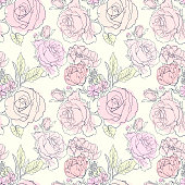 Soft flowers pattern/ Stylish trendy fresh flowers background/ Seamless vector summer pattern