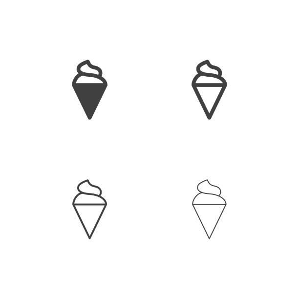 ilustraciones, imágenes clip art, dibujos animados e iconos de stock de iconos de cono de helado soft - multi serie - ice cream cone