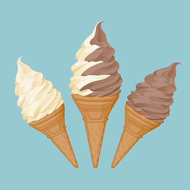 weiche ice cream cone - vanillecreme stock-grafiken, -clipart, -cartoons und -symbole
