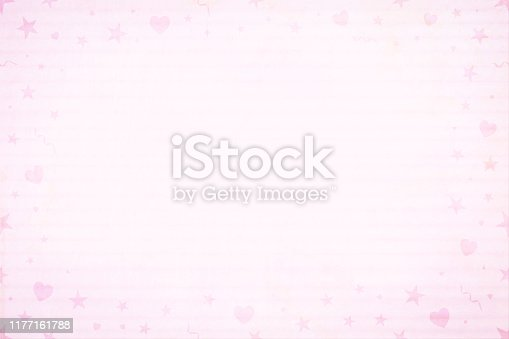 Soft light pink coloured horizontal photo frame backgrounds vector illustration. Small party elements, heart, swirls, confetti in the border.