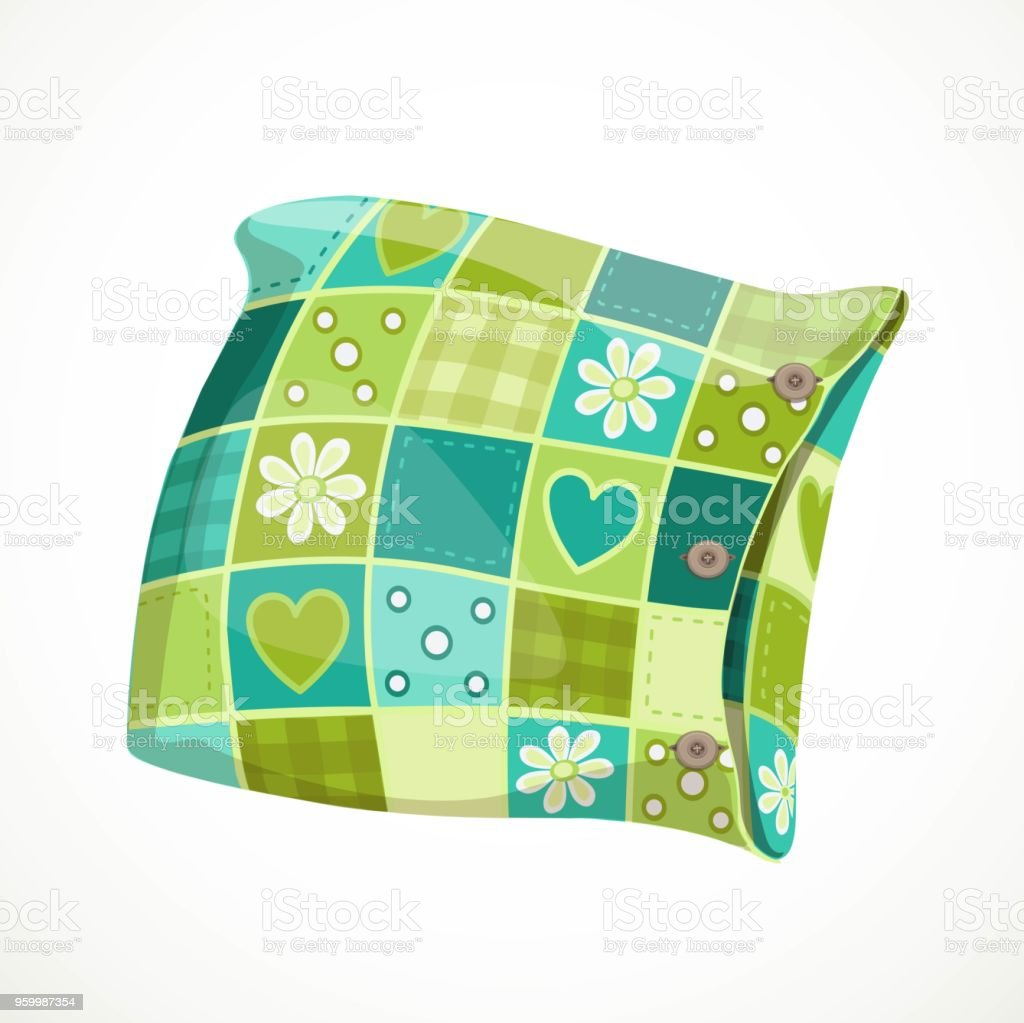 Soft pillow in a patterned pillowcase object isolated on a white background vector art illustration