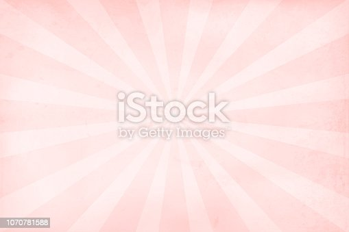 istock Soft pink and rose colored grunge Sunburst textured vector Christmas background- horizontal 1070781588