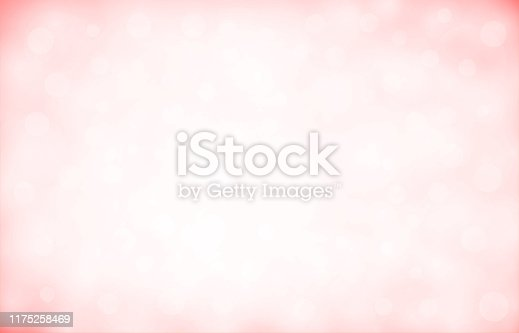 Soft pastel red and white colour shining glittery blurry horizontal background stock photo. Looks like twinkling lights light shiny sky background. Vignette, vignetting, copy space. No people. No text. Apt for party, Xmas, Christmas, New Year's eve, New Year, birthday party celebration backdrop, wallpaper,  romantic gift wrapping paper, greeting cards. There are subtle light coloured circles of different sizes and overlapping making it blingy and shimmery. Divine, spiritual background. Corners have more color.