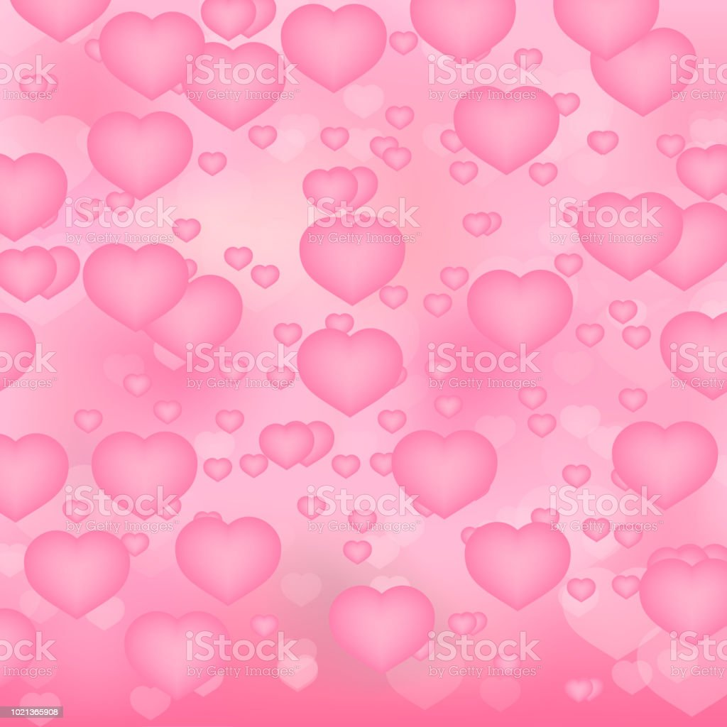 Soft Pink Hearts 3d Background Valentines Day Shiny Greeting Card