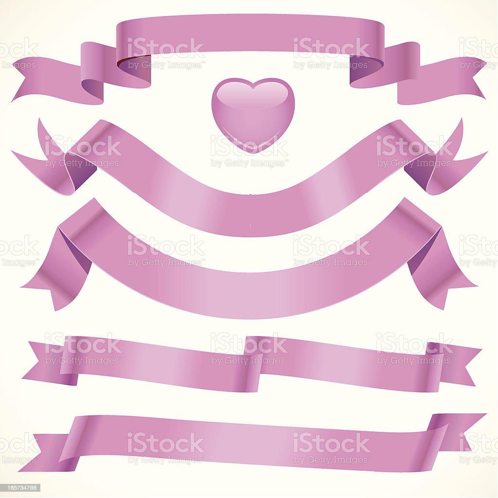 Soft Pink Ribbon vector art illustration