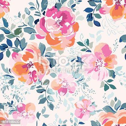 istock Soft pink Rose print - seamless background 628146430