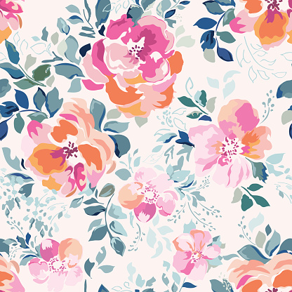 Soft pink Rose print - seamless background