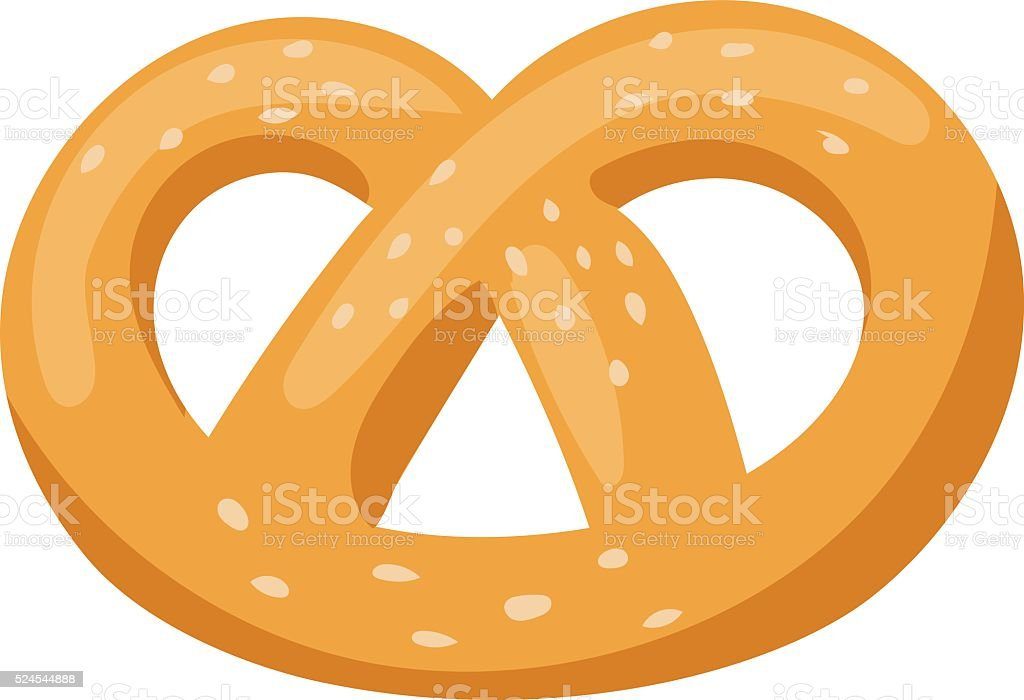Soft pretzel isolated salty snack fresh german tasty traditional food vector art illustration