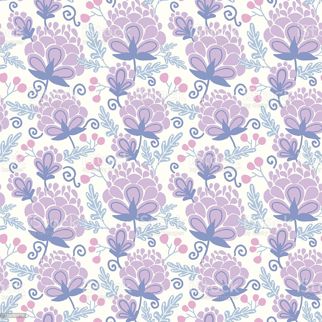 Soft purple flowers seamless pattern background royalty-free stock vector art