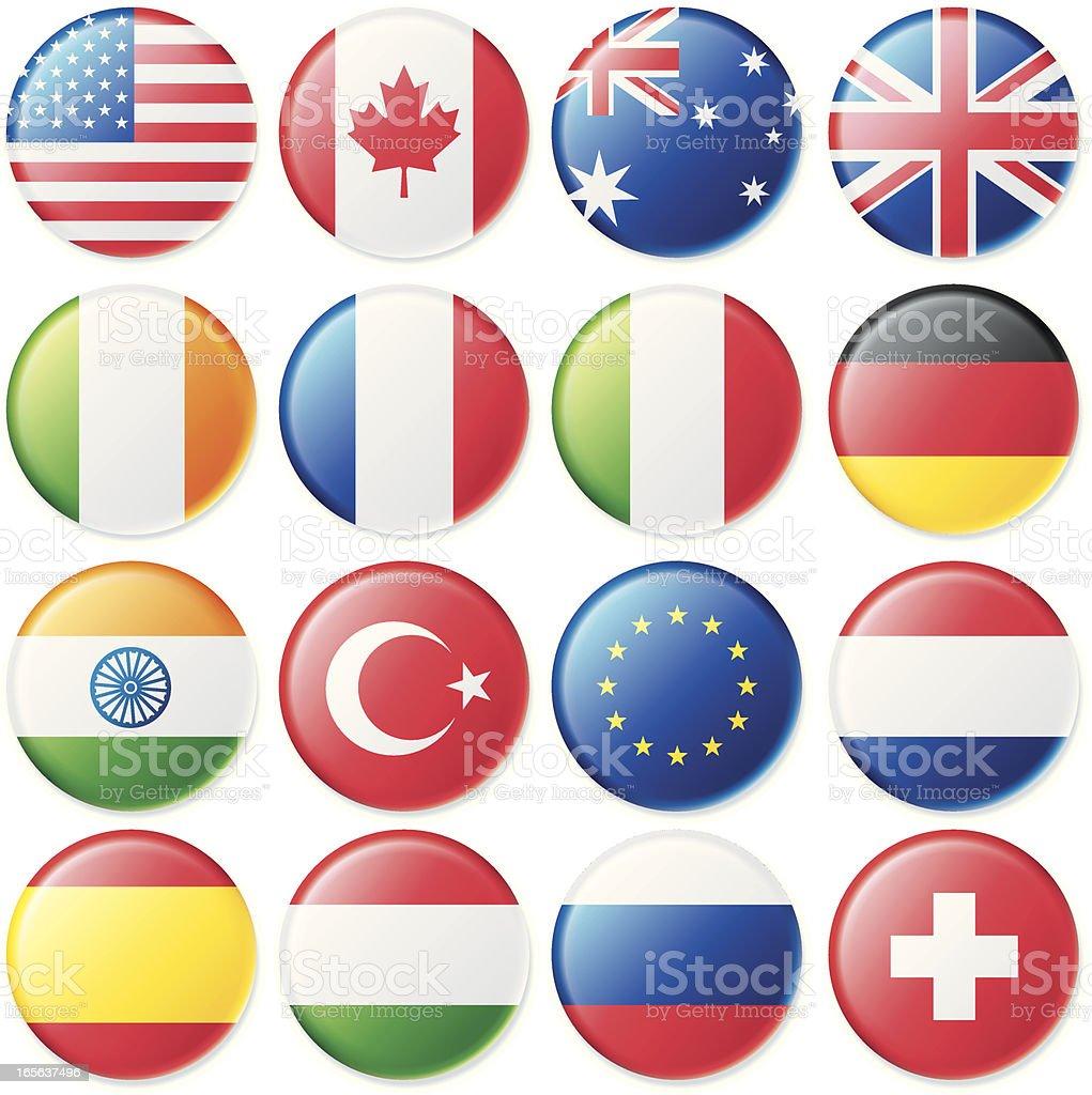 Weiches Satin-Flagge Buttons – Vektorgrafik