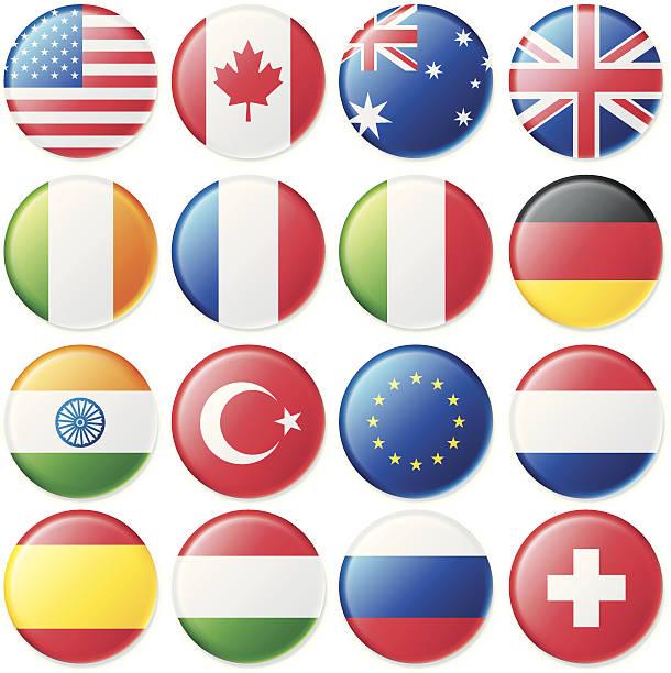 ilustrações, clipart, desenhos animados e ícones de bandeira macio em cetim botões - botões de bandeiras