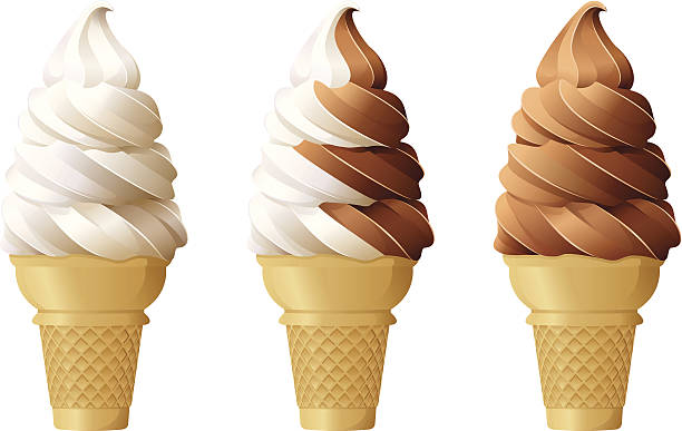 Soft Serve Ice Cream Cones vector art illustration