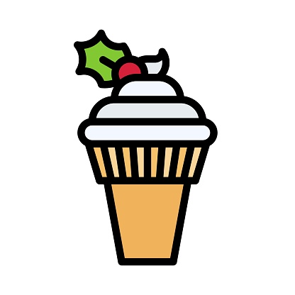 Soft serve icon, Christmas food and drink vector