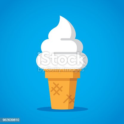 Vector illustration of a soft serve ice cream cone against a blue background in flat style.