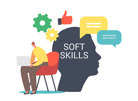 Soft Skills in Business Concept. Tiny Female Character Working on Laptop at Huge Human Head. Office Worker Empathy