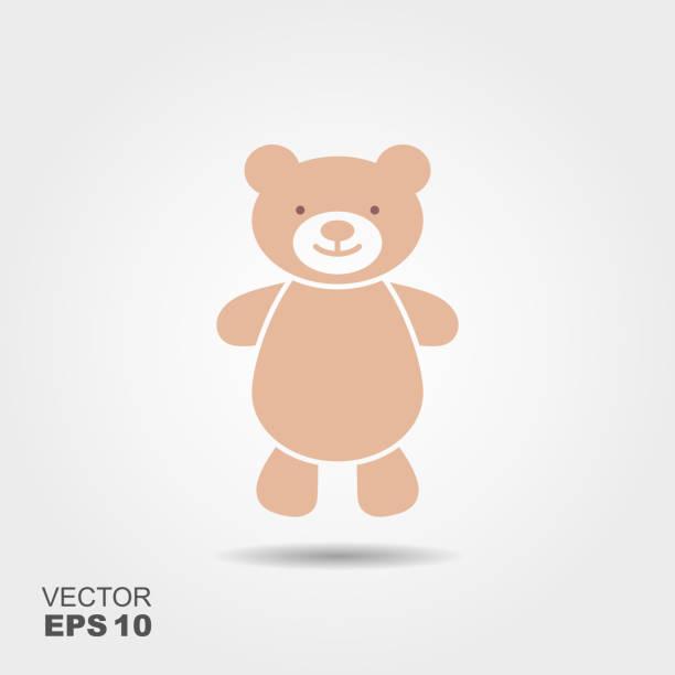 ilustrações de stock, clip art, desenhos animados e ícones de soft toy, teddy bear flat icon - teddy bear