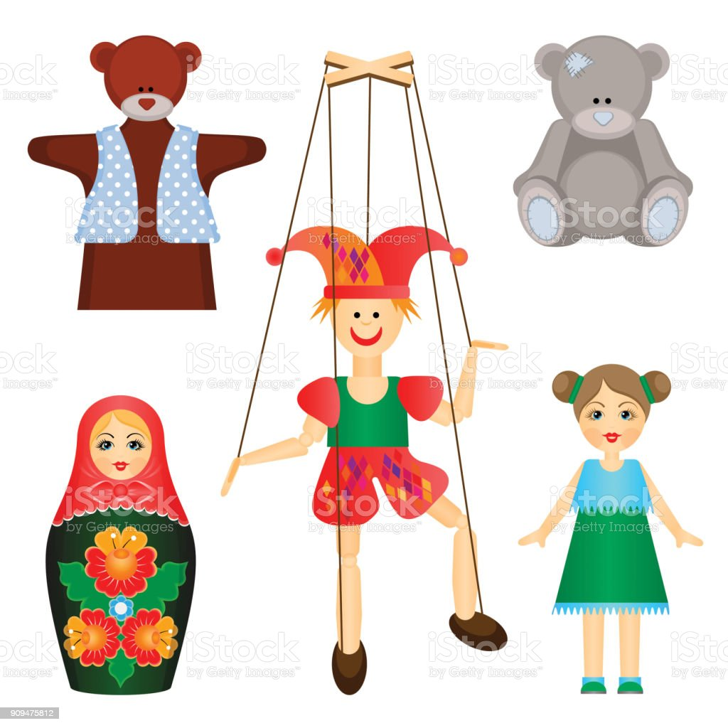 Soft toys and dolls of wood and plastic set vector art illustration