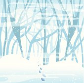 Footsteps in the winter forest. EPS10 file, transparency used.