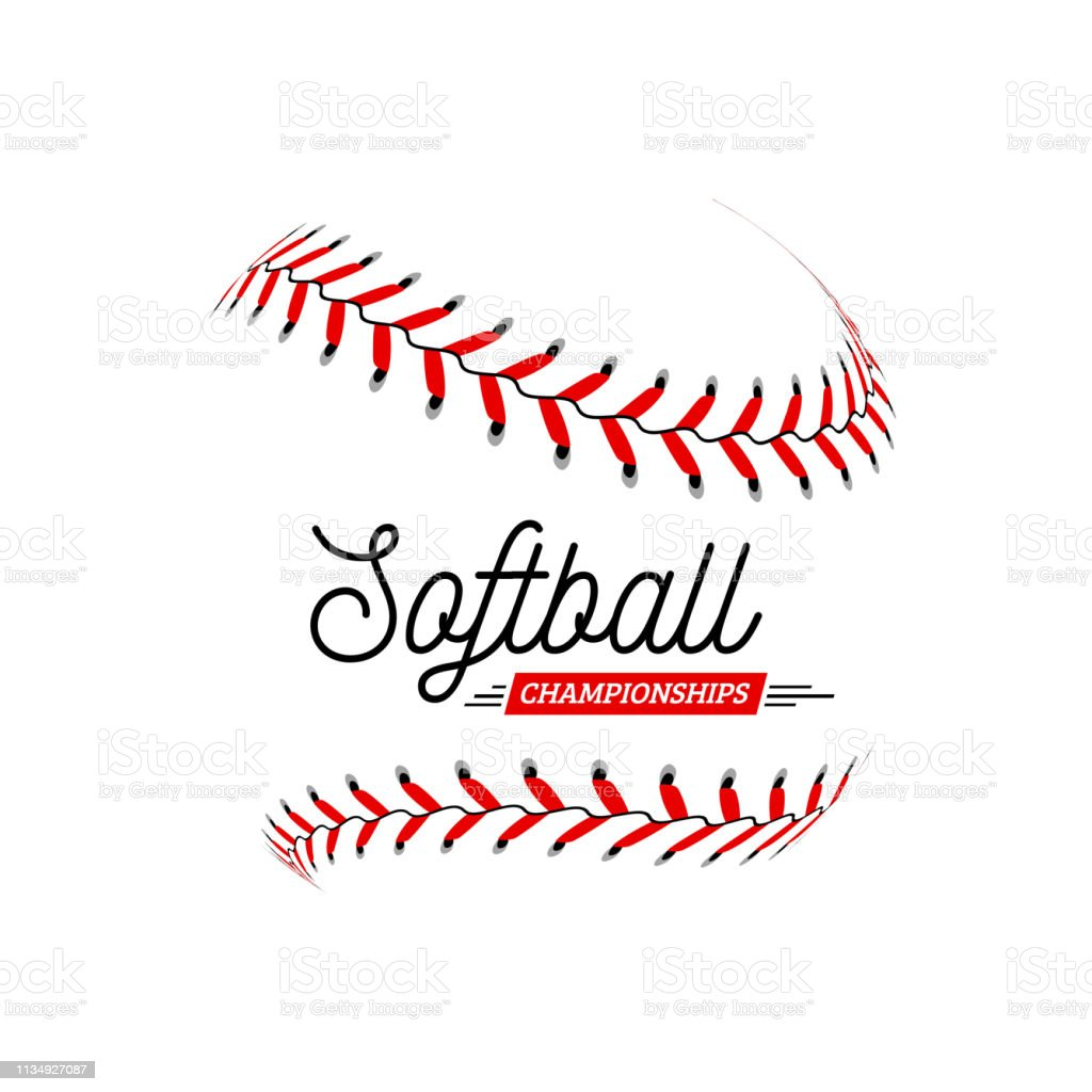 Softball ball on white background. Vector illustration can be used...