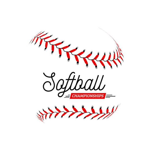 ilustraciones, imágenes clip art, dibujos animados e iconos de stock de pelota de softbol sobre fondo blanco. ilustración vectorial - sófbol