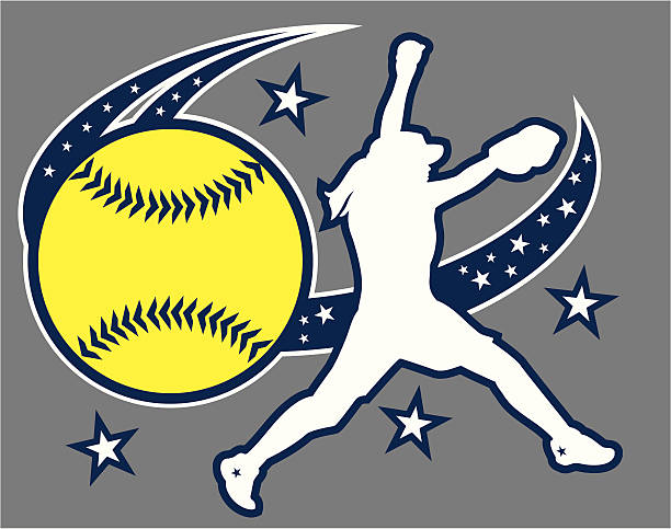 softball design - softball stock illustrations, clip art, cartoons, & icons