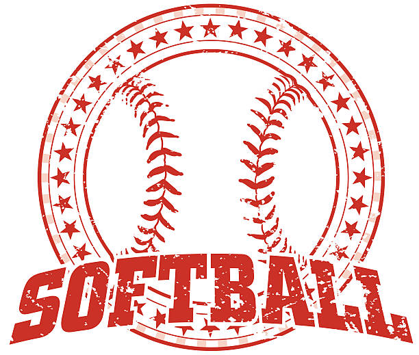 softball design - vintage - softball stock illustrations, clip art, cartoons, & icons