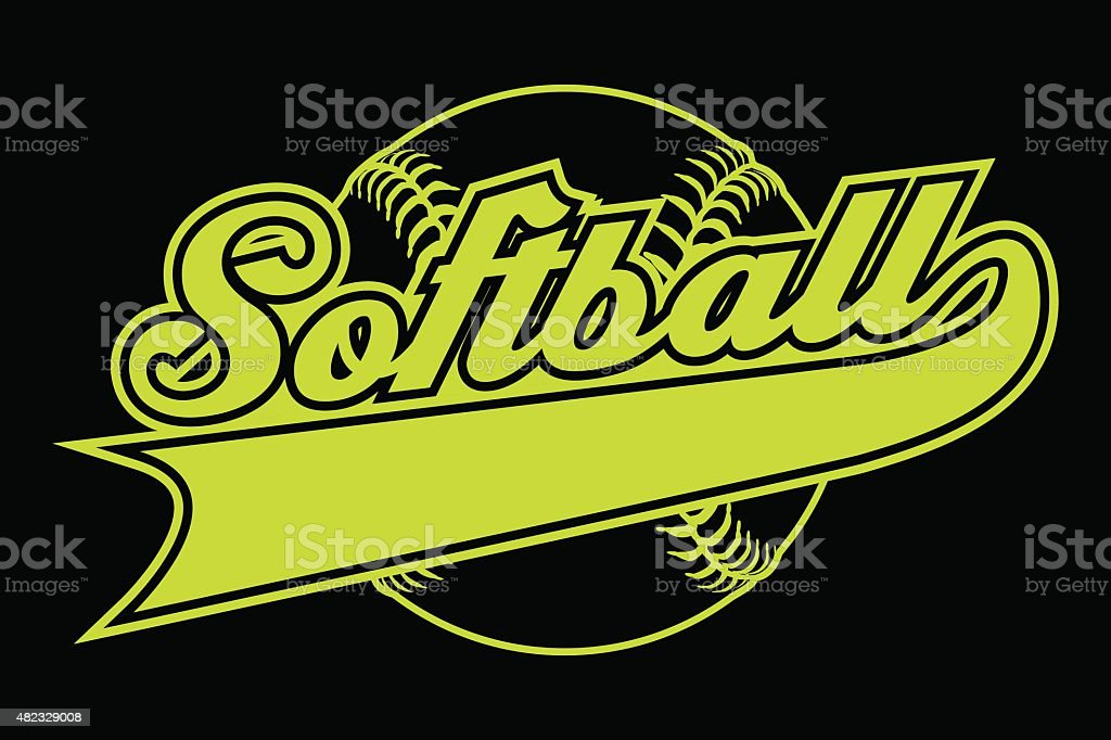 Softball Design With Banner vector art illustration