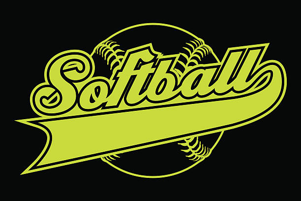 softball design with banner - softball stock illustrations, clip art, cartoons, & icons