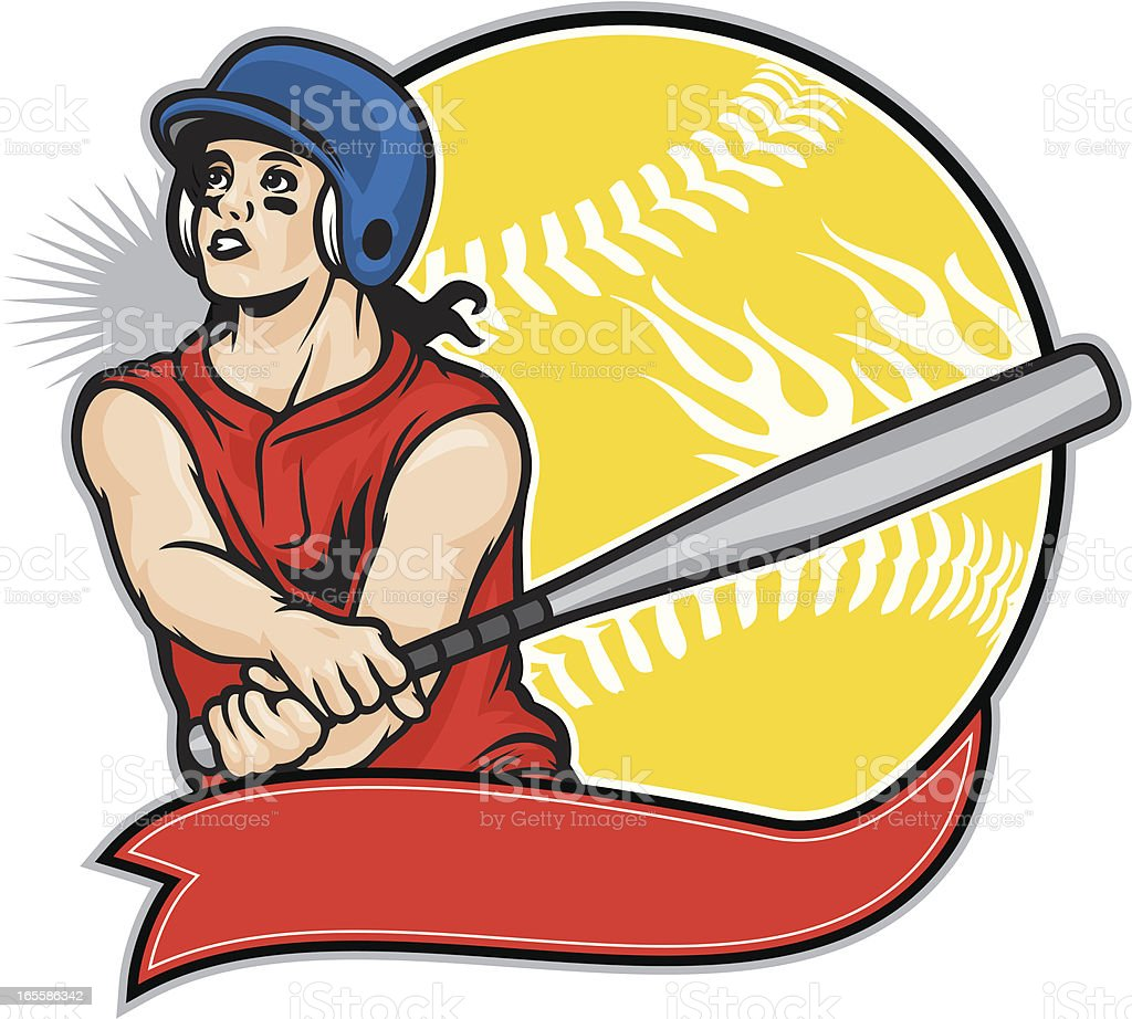 Softball Girl vector art illustration