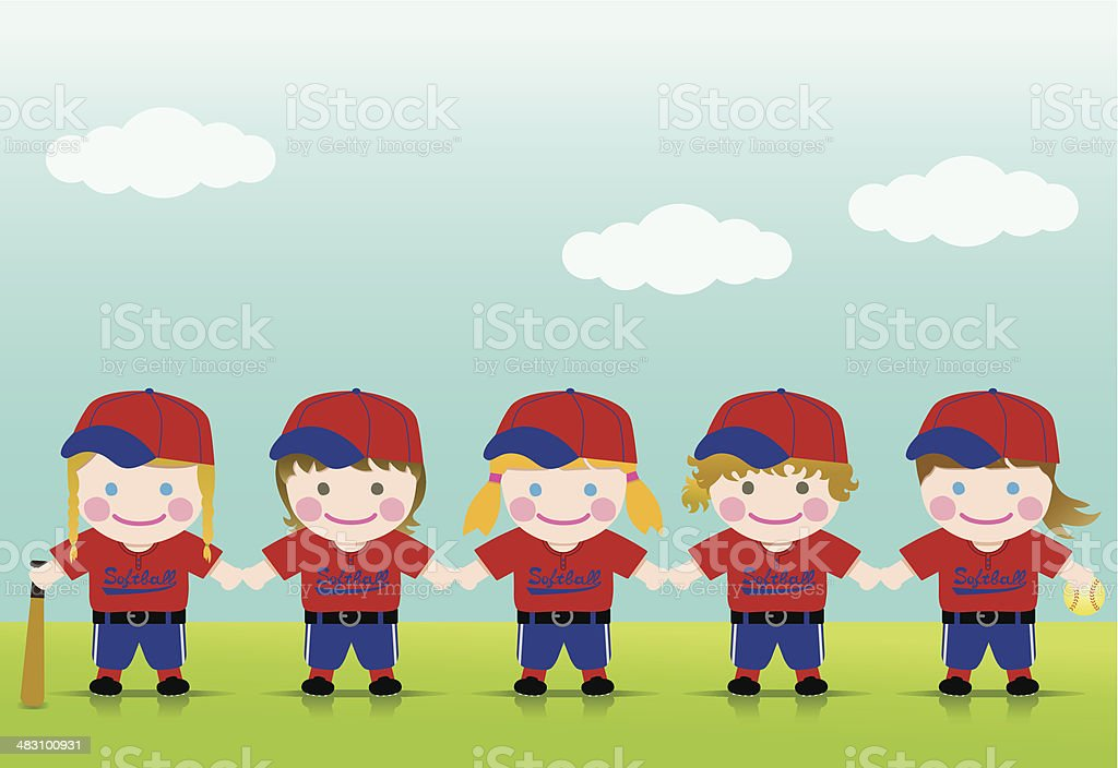 Softball Girls Blond Brown vector art illustration